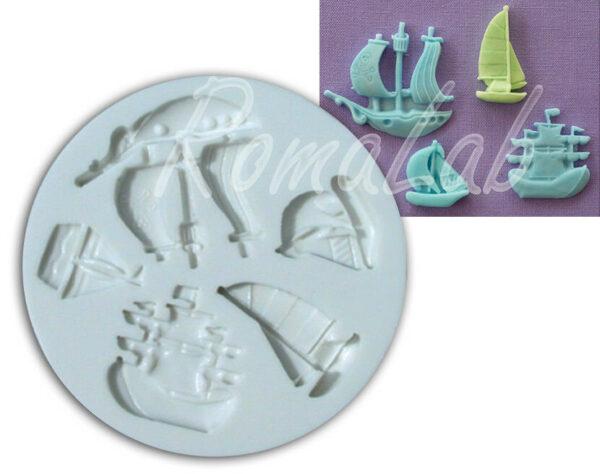 Alphabeth Moulds Stampo silicone pirati e barche mould 302686497289