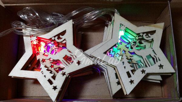 Catena luminosa in legno forma stella paesaggio natalizio decorazione albero 292379393219
