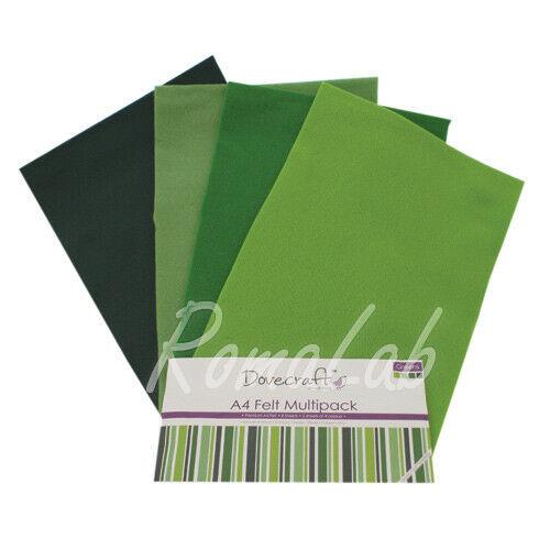 Confezione 8 fogli di feltro A4 in mix Dovecraft multipack toni del verde 292717094049