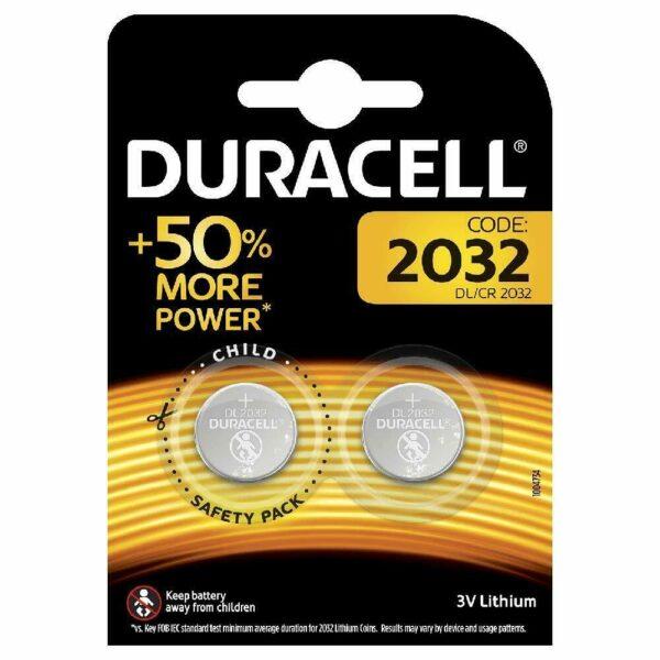 Confezione da 2 Batterie Duracell 2032 a Bottone al Litio da 3V pila pile bil 293031496869