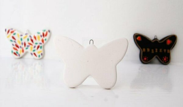 Farfalla piatta in ceramica biscotto Butterfly Flat Hanging Ornament bisque d 303564268209