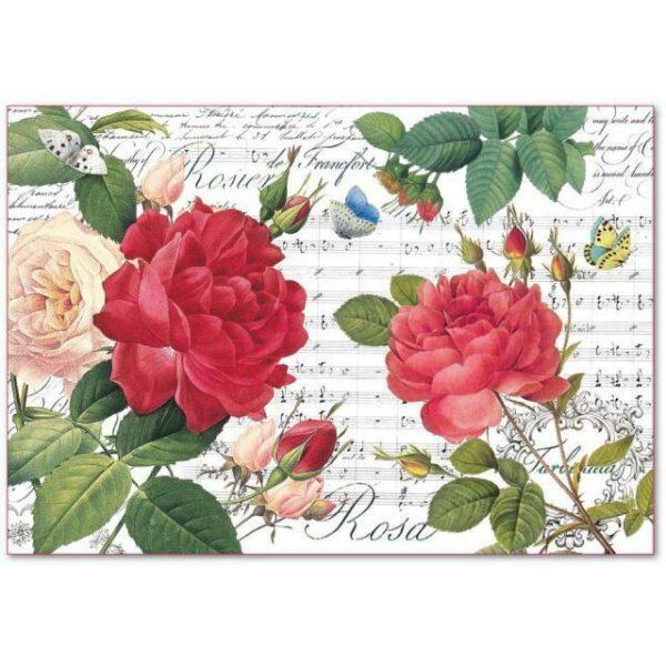 Foglio 48x33 cm IN CARTA DI RISO stampata Rose rosse e musica per decoupage rosa 303742543259