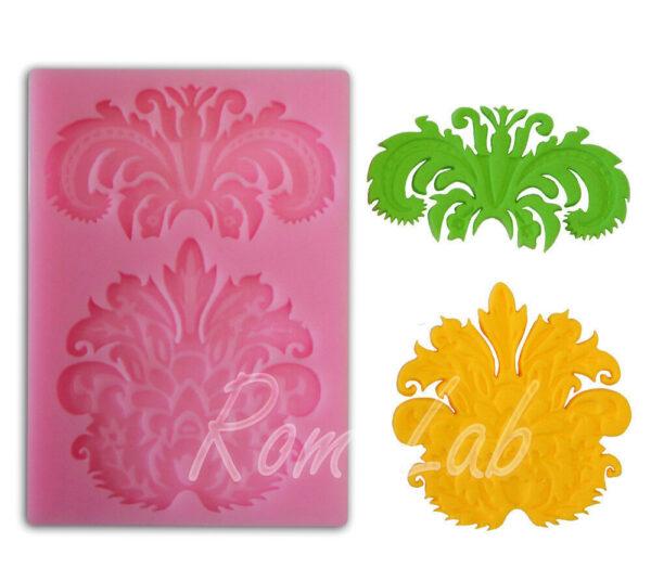 STAMPO IN SILICONE FORMINE motivo floreale arabeschi per gessi o cioccolato rosa 292199387109