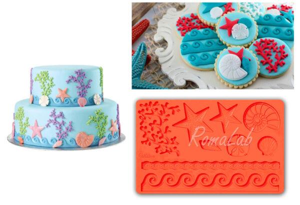 STAMPO IN SILICONE stile marino FORMINE STAMPINO MOLD mould CAKE DESIGN mare 291801100399