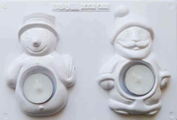 Stampo BABBO NATALE PUPAZZO DI NEVE PORTACANDELA natalizio x gesso ceramico 293807210359