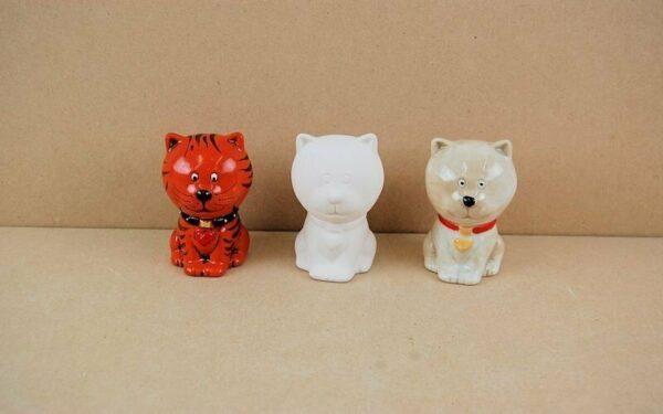 Statuina in ceramica biscotto bianco gatto da dipingere decorare Kitten gatti 293576155219