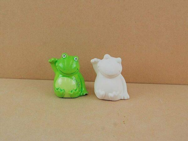 Statuina in ceramica biscotto bianco rana da dipingere decorare rana Froggy frog 303564390509