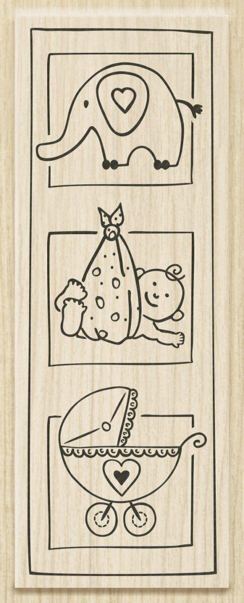 TIMBRO con BASE in LEGNO trittico baby TIMBRI per SCRAPBOOKING Stamp 303055367429