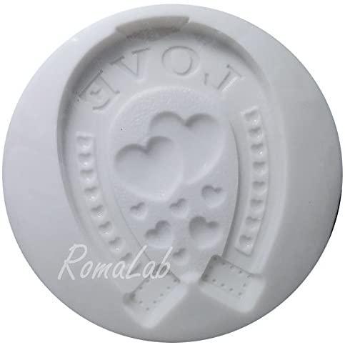 Alphabeth Moulds Mini Stampo in Silicone Flessibile Ferro di Cavallo Love Portafortuna B018A3TXN8