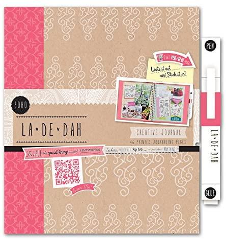 La De Dah Boho Diario e Penna con Stick di Colla Colore Rosa B00KZLKY7I