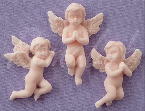 Mini STAMPO IN SILICONE angeli che pregano 3 FORMINE comunione angioletti cherub B07C9L43DZ