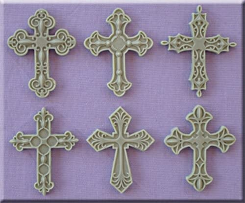 PICCOLO STAMPO IN SILICONE croce 6 FORMINE croci decorate crocifisso comunione B074L6XNYZ