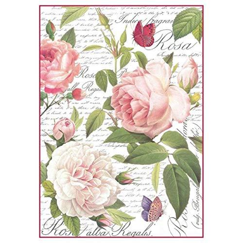 STAMPERIA DFSA4304 A4 Decoupage carta di riso confezionata Vintage Rose Multicolore 297 x 21 cm B07B9M4FV2