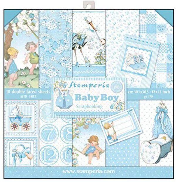 STAMPERIA SBBL40 Blocco di carta 10 fogli double face Baby Boy Carta Multicolore 305 x 305 cm 12 x 12 B079RFV8DS