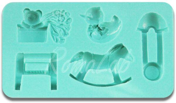 STAMPO IN SILICONE a tema baby spilla da balia papera bambino mini FORMINE molds B0743MX8N3