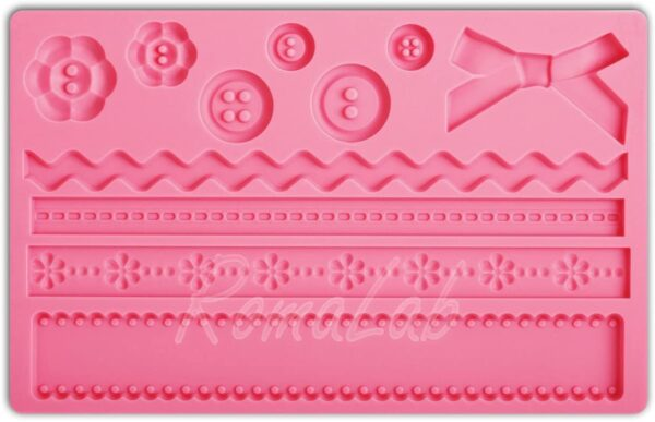 STAMPO IN SILICONE nastri fiocchi bottoni FORMINE STAMPINO MOLD CAKE DESIGN B0743K7X7V