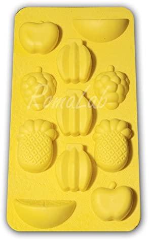 STAMPO giallo IN SILICONE FRUTTA x GHIACCIO gessi ANANAS BANANE uso alimentare B07BN3XN19