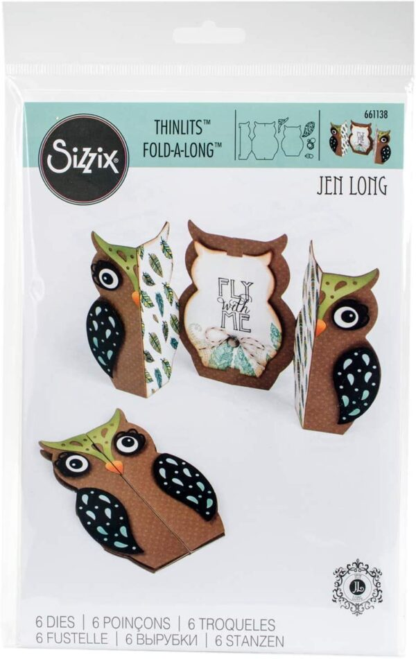 Sizzix 661138 Fustella Thinlits Card Owl Label Fold Jen Long Carbon Steel Multicolore 262x169x05 cm B01AMLG3HA