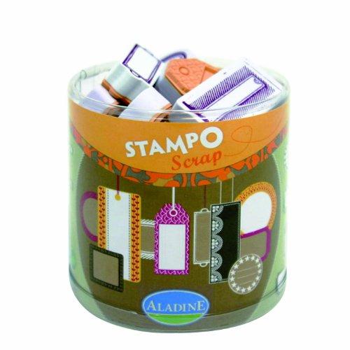 TIMBRI IN GOMMA aladine STAMP etichette chiudipacco tag SET X SCRAPBOOKING B00FRU2P8I